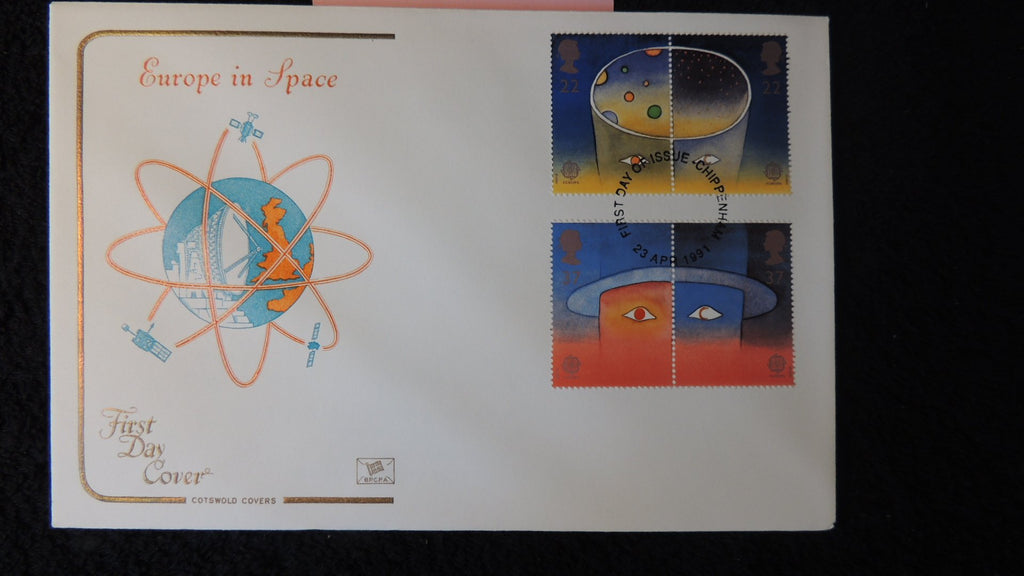 Great Britain FDC Cotswold 1991 europa in space satellite dish globe