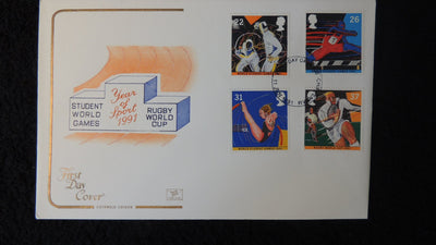 Great Britain FDC Cotswold 1991 year of sport fencing hurdling diving rugby