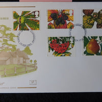 Great Britain FDC Cotswold 1993 autumn fruit blackberries pears nuts trees