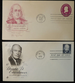 USA 1969 x2 FDC dwight D eisenhower 6c franklin embossed 4c