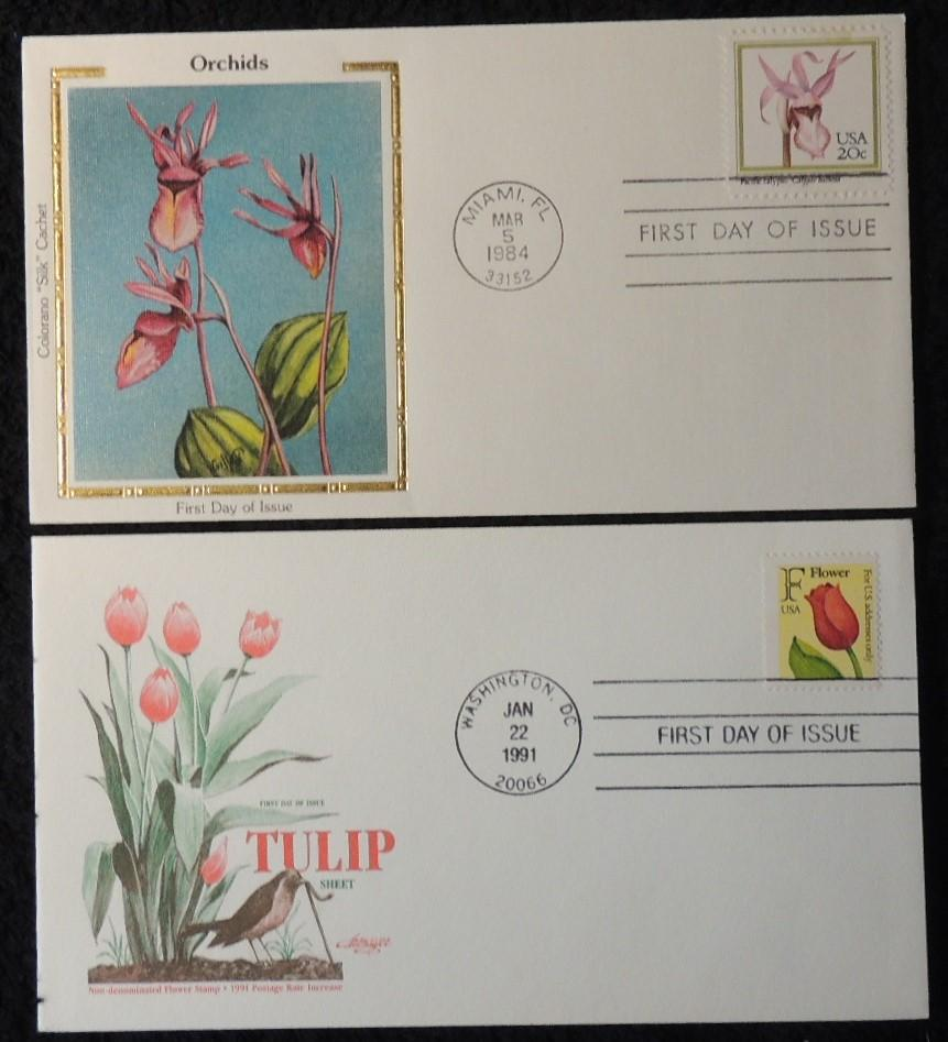 USA 1984 FDC orchids 1991 tulip miami washington dc postmark