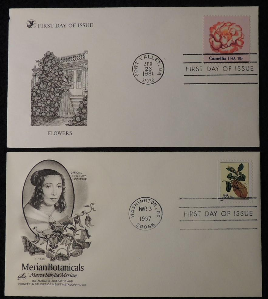 USA 1981 1997 FDC flowers merian botanicals camellia fort valley washington postmark