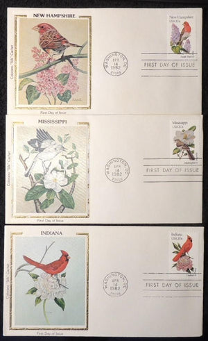 USA 1982 FDC birds purple finch mockingbird cardinal peony lilac magnolia silk cover washington postmark