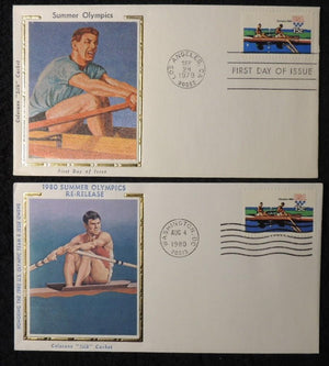 USA 1980 FDC olympic games rowing silk cover various postmark