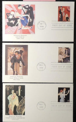 USA 1978/96 FDC american illustrator john held jessie willcox smith joseph leyendecker new york postmark
