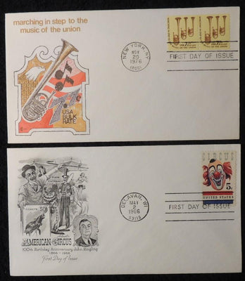 USA 1966 1976 FDC circus john ringling clown 7.7c bulk rate