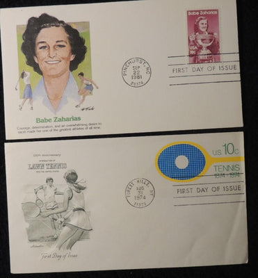 USA 1974 1981 FDC babe zaharias sport golf athletics tennis anniv