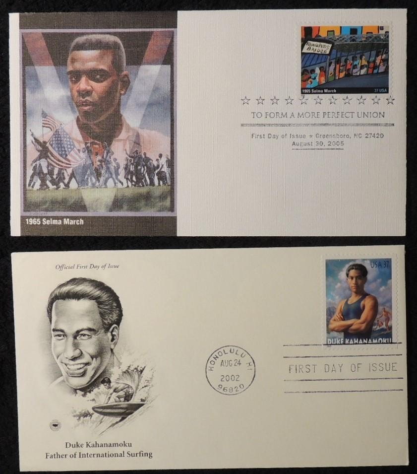USA 2002 2005 FDC duke kahanamoku surfing selma march civil rights