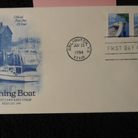 USA 1994 FDC artcraft fishing boat 19c postcard rate stamp arlington postmark
