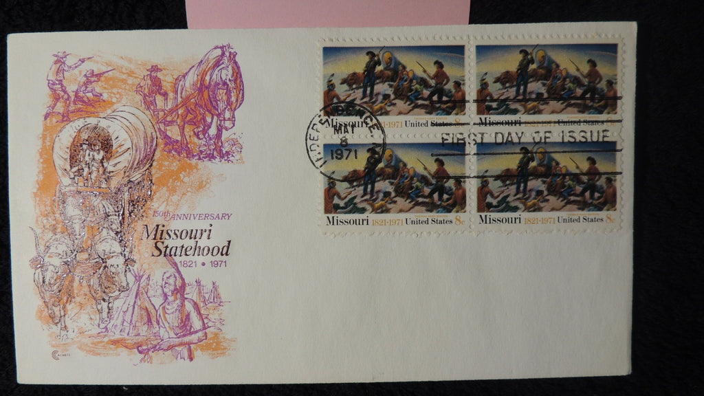 USA 1971 FDC missouri statehood wagons red indians plouging independence postmark horses transport