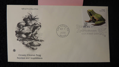 USA 2003 FDC reptiles and amphibians ornate chorus frog san diego postmark