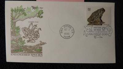 USA 1996 FDC endangered species wyoming frog amphibians san diego postmark