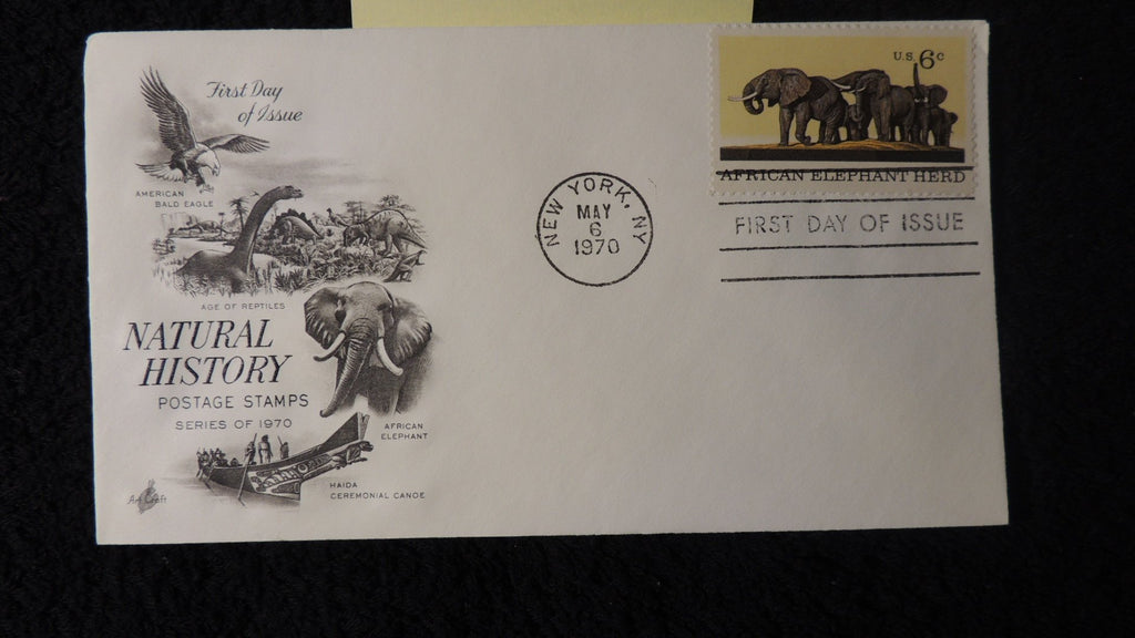 USA 1970 FDC natural history dinosaurs prehistoric elephants new york postmark #2