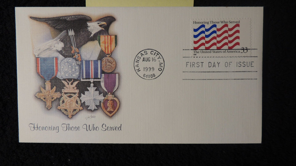 USA 1999 FDC honouring those who served medals militaria kansas city postmark