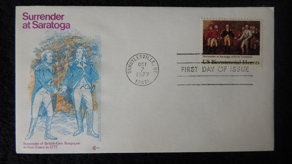 USA 1977 FDC surrender at saratoga uniforms militaria art trumbell insert included good used