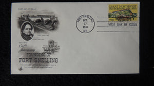 USA 1970 FDC 150th anniversary founding of fort snelling colonel josiah wagon train good used