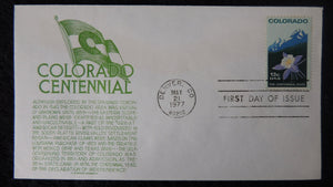 USA 1977 FDC colorado centennial flags flowers mountains good used
