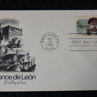 USA 1982 FDC spanish explorer ponce de leon maps flags ships galleons good used