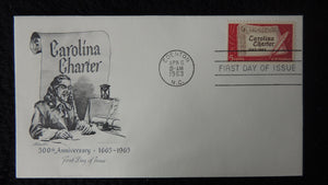 USA 1963 FDC 300th anniversary carolina charter good used