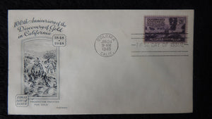 USA 1948 FDC gold discovery california centennial good used