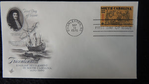 USA 1970 FDC 300th anniversary english settlement in south carolina maps ships galleons charles II good used