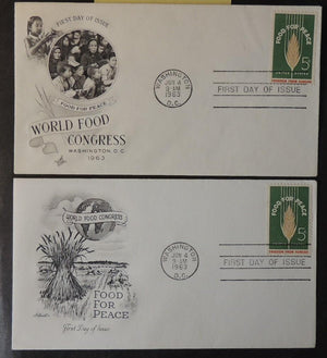 USA 1963 FDC x2 world food congress globe children washington postmark good used