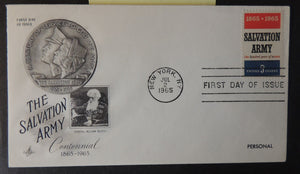 USA 1965 FDC artcraft salvation army centennial william booth new york postmark good used