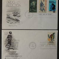 USA 1969/71 x2 FDC national easter seal society disabled crippled drug addication good used