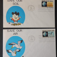 USA 1970 FDC x2 save our air soil birds earth planet good used
