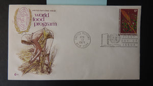 United Nations 1971 FDC world food program map un postmark good used