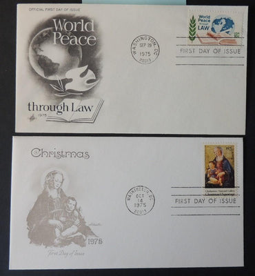 USA 1975 FDC x2 world peace christmas religion washington law postmark good used