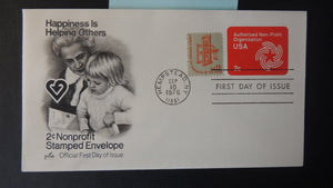 USA 1975 FDC 2c nonprofit embossed helping others children women hempstead postmark good used
