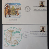 USA 1977 FDC x2 christmas religion children valley forge postmark good used