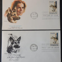 USA 1979 FDC x2 national guide dog animals program gsd good used