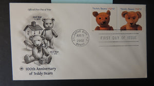 USA 2002 FDC 100th anniversary teddy bears children atlantic city postmark good used