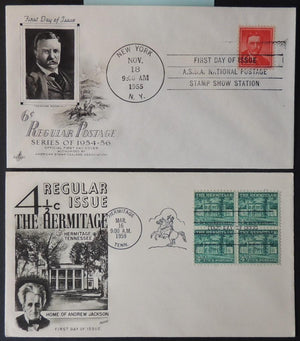 USA 1955/59 FDC x2 regular issue theodore roosevelt andrew jackson good used