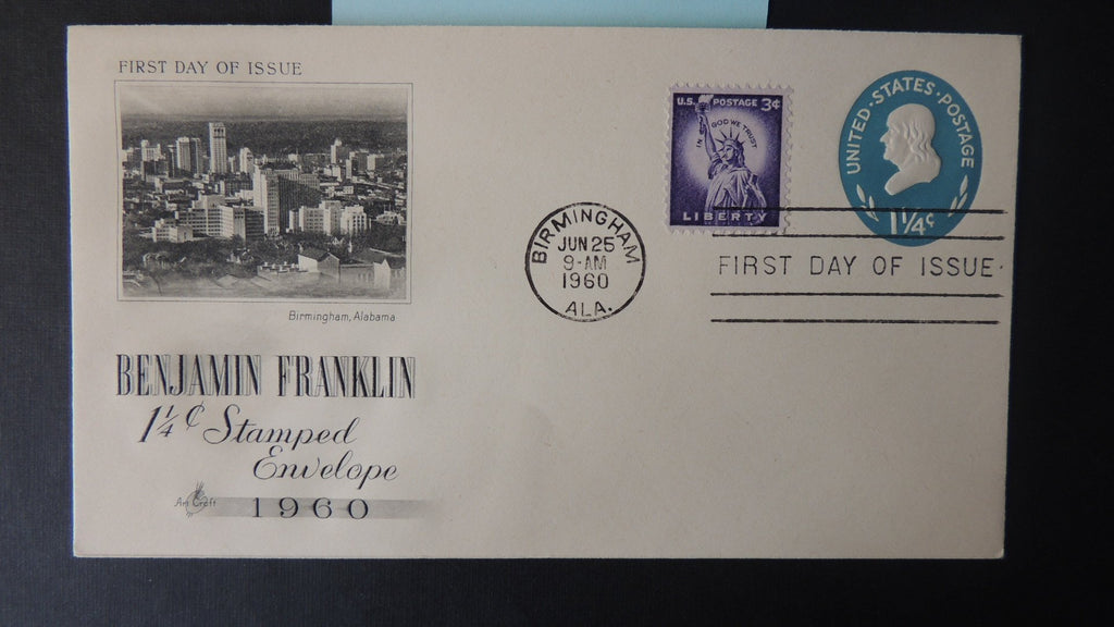 USA 1960 FDC benjamin franklin stamps 1 1/4c stationary good used