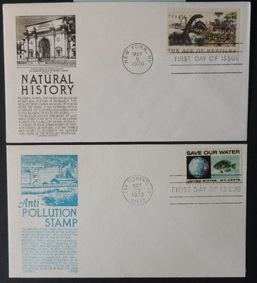 USA 1970 FDC x2 natural history prehistoric dinosaurs pollution save our water fish good used