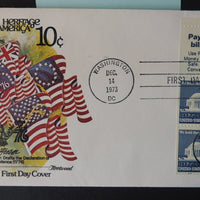 USA 1973 FDC jefferson 10c booklet pane fleetwood flags good used