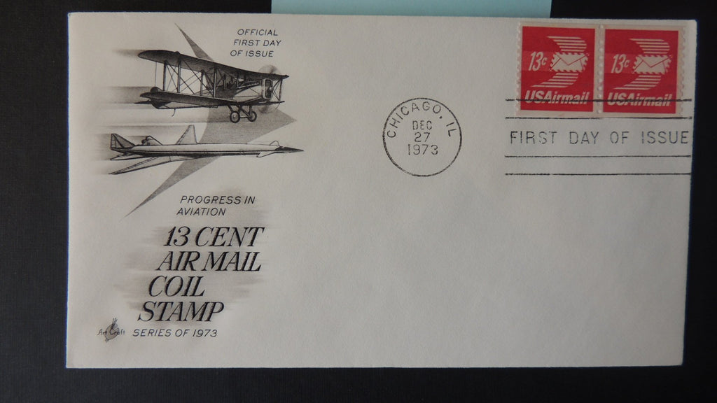 USA 1973 FDC 13c air mail coil stamp aviation aircraft postal good used