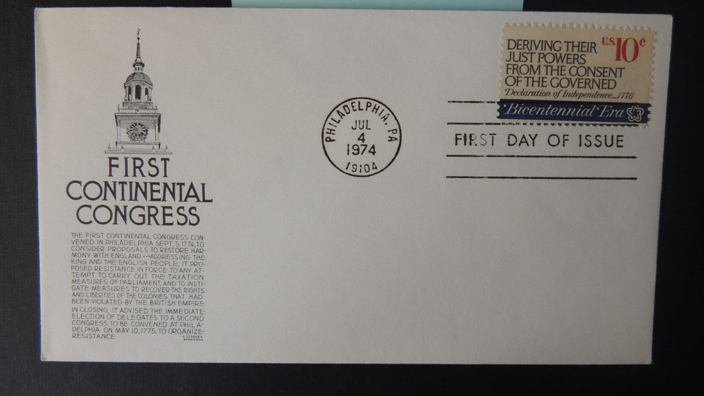 USA 1974 FDC 10c bicentennial 1st continental congress good used