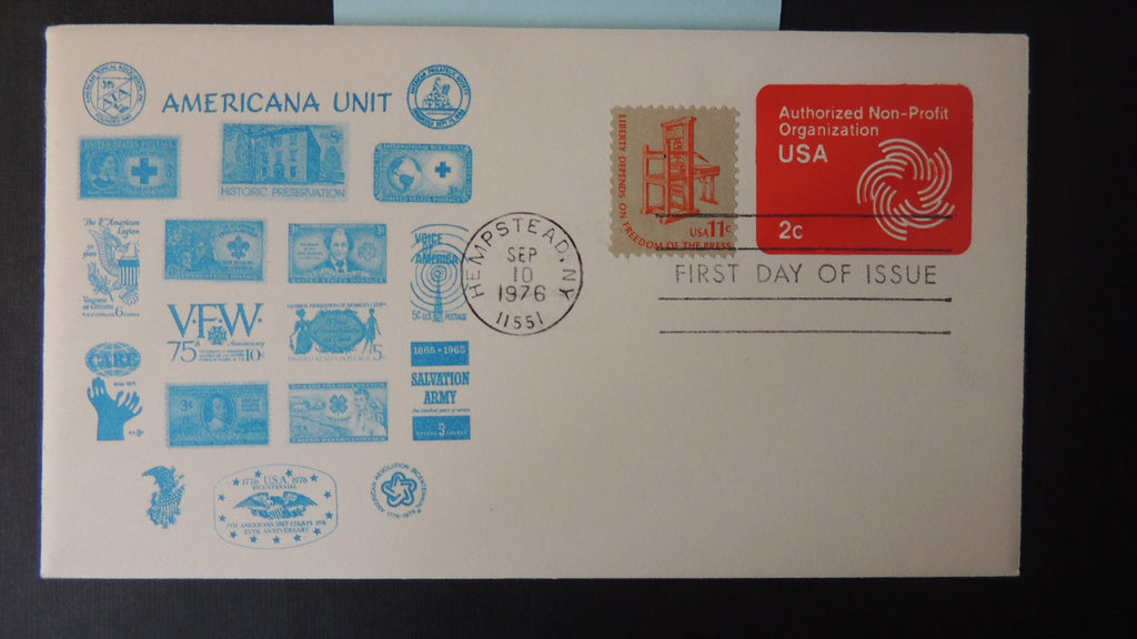 USA 1976 FDC 2c authorised nonprofit stamped envelope good used