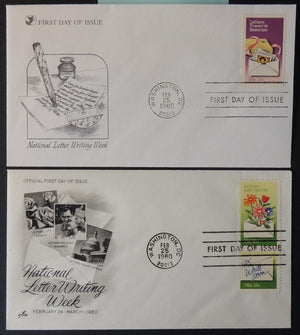 USA 1980 FDC x2 15c letter writing week literature good used