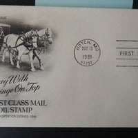 USA 1981 FDC 18c coil surrey horse-drawn coach transport postal good used