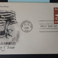 "USA 1981 FDC ""C"" issue birds of prey flags postal good used"