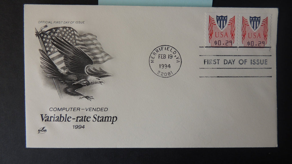 USA 1994 FDC variable rate PMC vending 20c coil pair artcraft postal good used