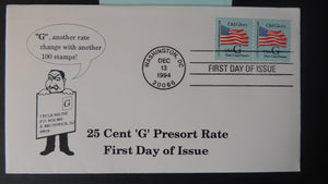 "USA 1994 FDC 25c ""G"" rate coil pair postal flags old glory good used"