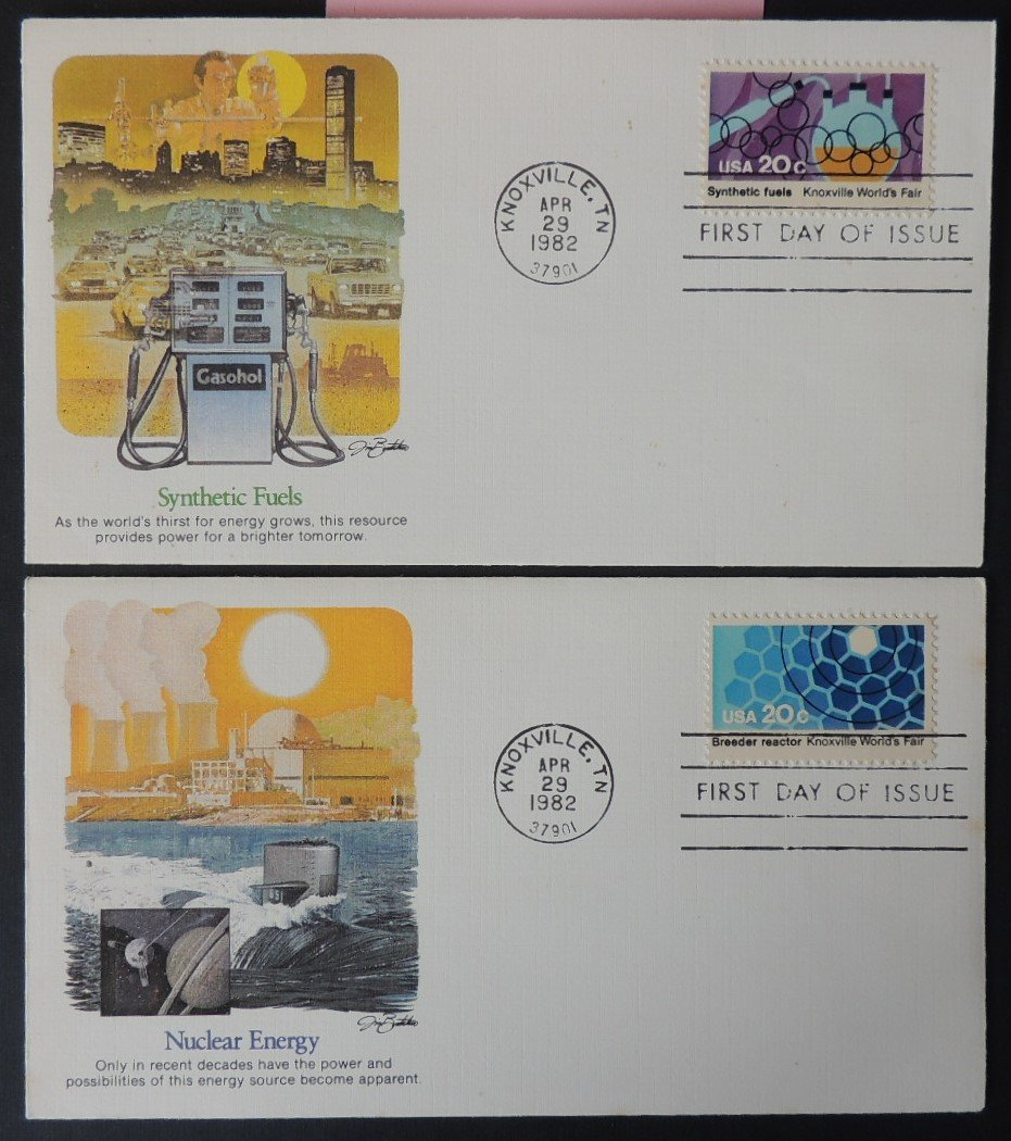 USA FDC 1982 x2 energy synthetic fuels nuclear space good used