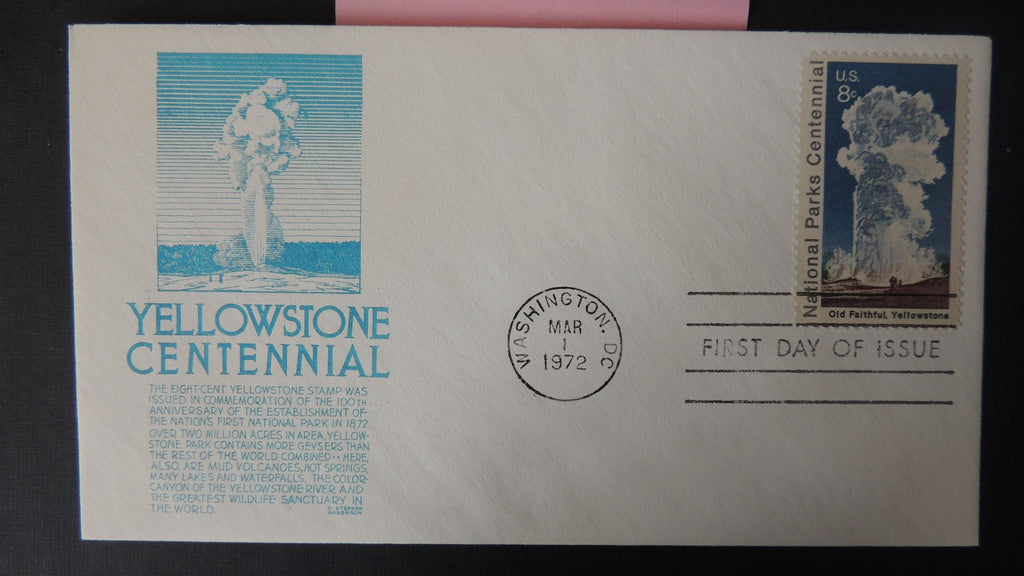 USA FDC 1972 anderson yellowstone national park centenary old faithful good used