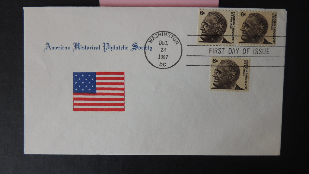 USA FDC 1967 american historical philatelic socirty franklin roosevelt flags good used